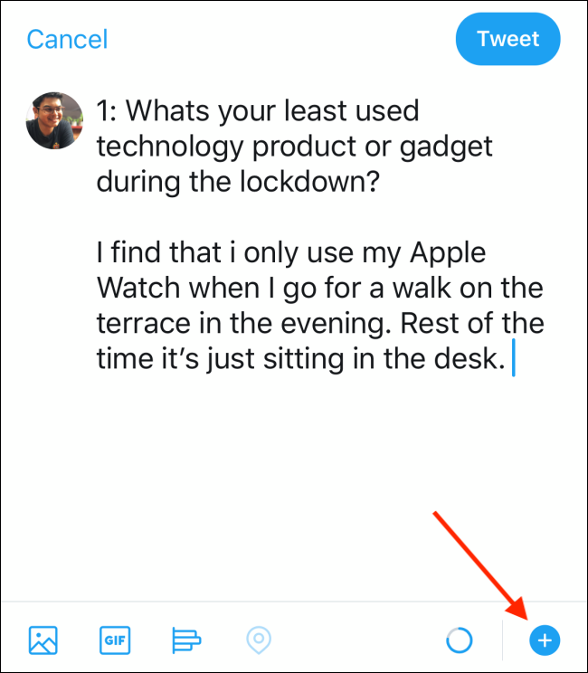 Tap on the Plus button to convert the tweet to twitter thread