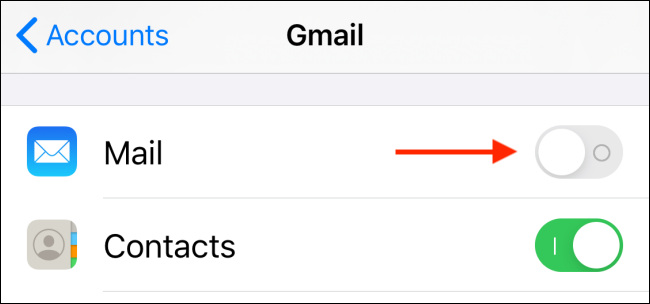 Tap on toggle next to Mail