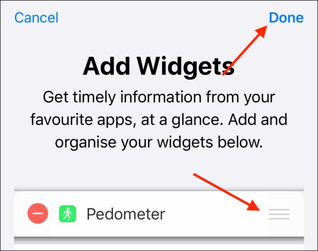 """Toque para reordenar los widgets y luego presione """"Listo""""."""