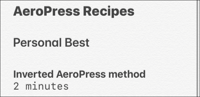 Text styles in Notes app