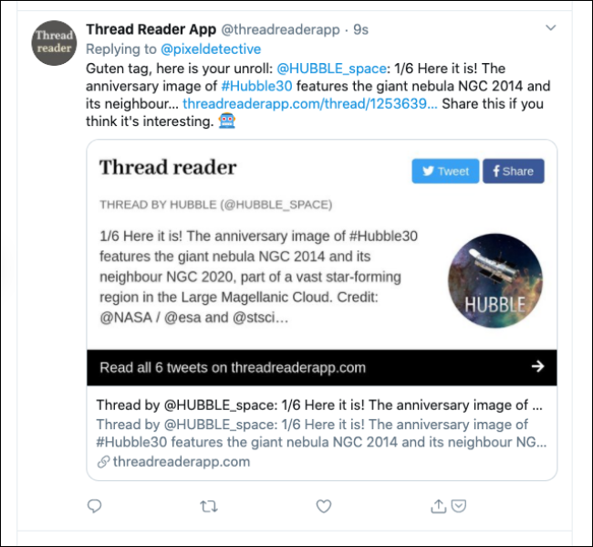 Resposta do aplicativo Thread Reader