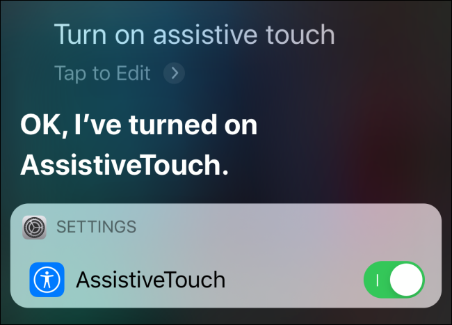 Turn on AssistiveTouch from Siri