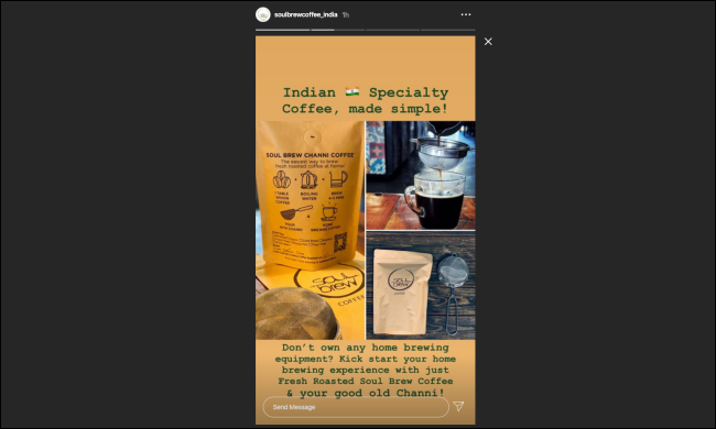 An Instagram story on a desktop browser.