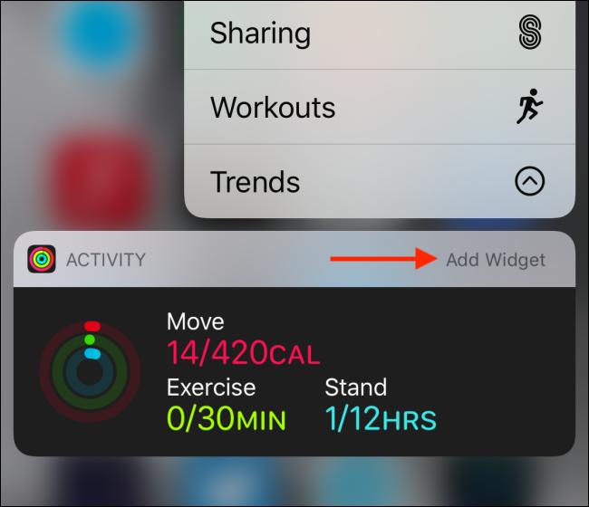 Widget shown on Home screen with Add Widget button