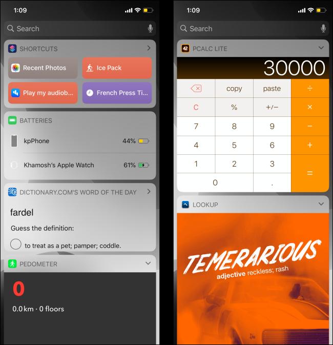 Widgets screens on iPhone