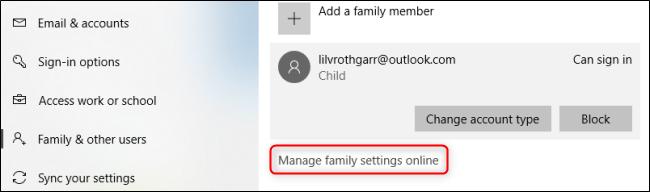 Windows 10 Manage Family Settings
