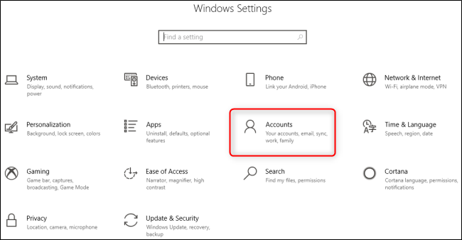 Windows 10 Settings Menu