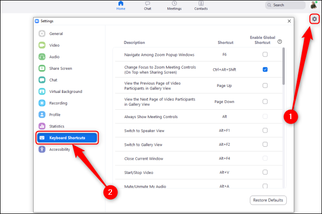 """Click the Settings cog, and then click """"Keyboard Shortcuts."""""""