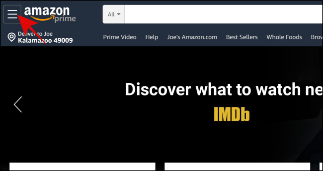 Select the menu icon on the Amazon Home Page.