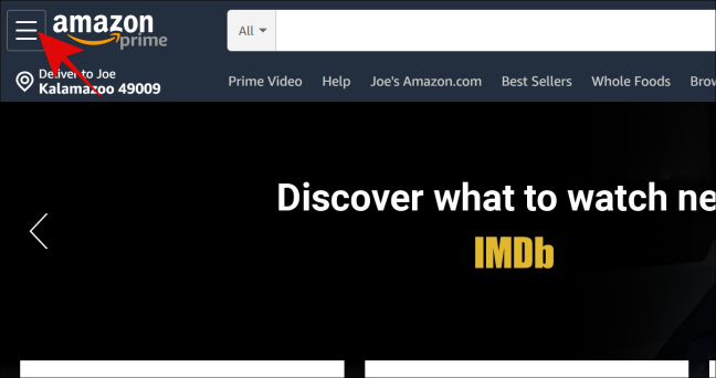 Click the Menu icon on the Amazon Home page.