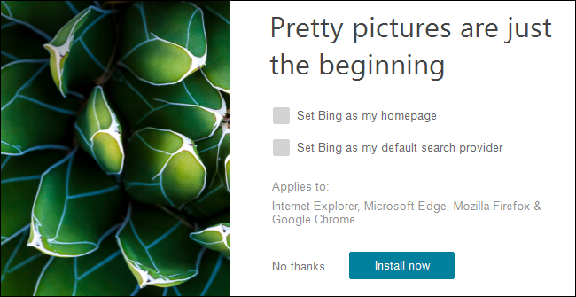 The Bing Wallpaper installer on Windows 10.
