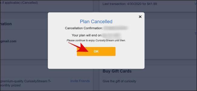 CuriosityStream Cancel Successful
