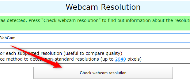 "Click ""Check Webcam Resolution"" at webcamtests.com."