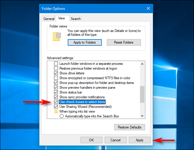 Turn off file checkboxes in Folder Options on Windows 10