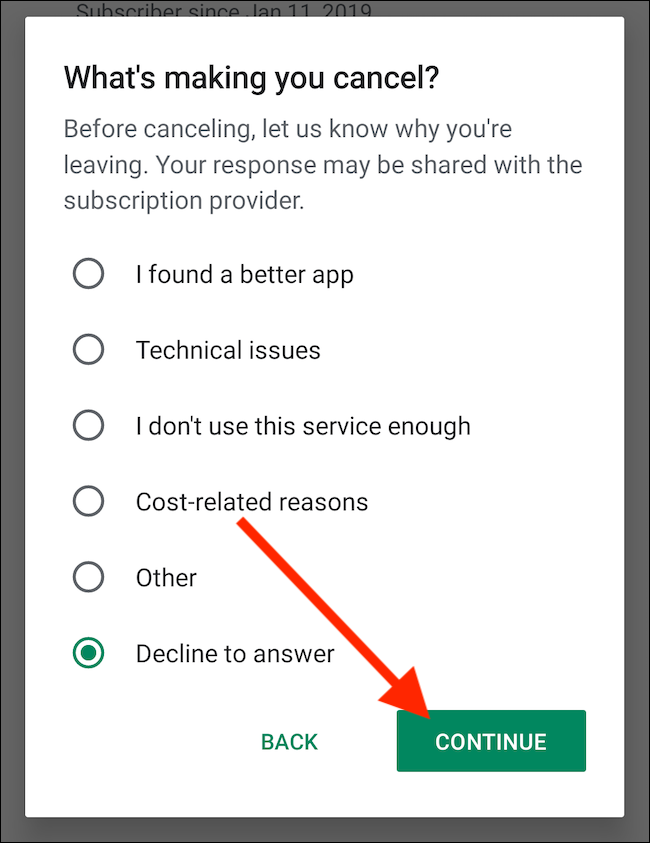 """Choose a Reason for Cancelling and then Select the """"Continue"""" Button"""