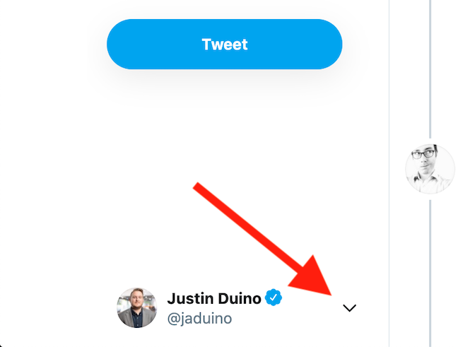 Click the arrow icon next to your Twitter avatar in the bottom-left corner