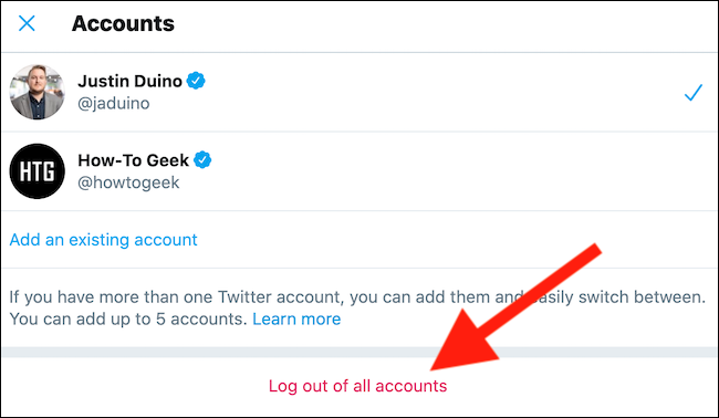 "Click the ""Log Out Of All Accounts"" link"