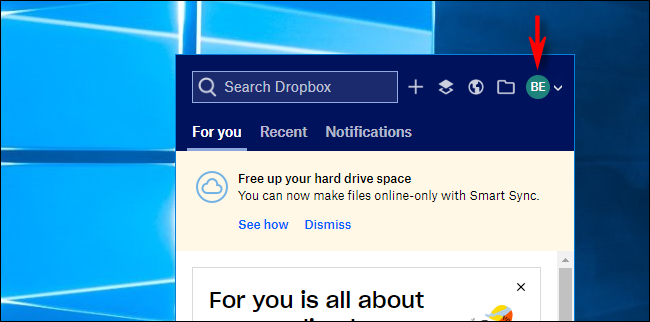 Haga clic en Avatar en Dropbox en Windows 10