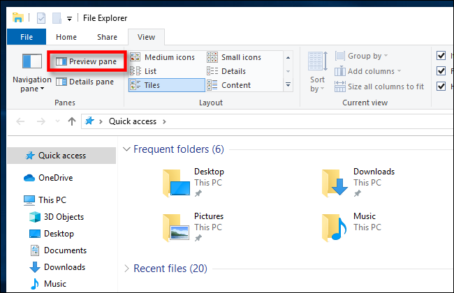 Click Preview Pane in Windows 10 File Explorer