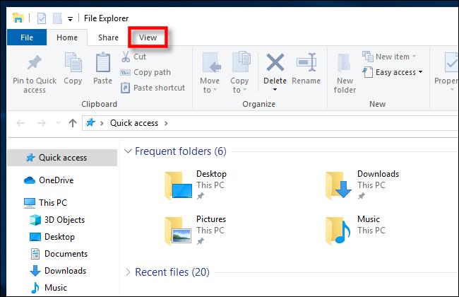 Click View in Windows 10 File Explorer