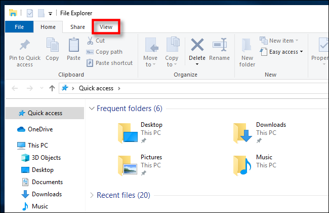 Click View in Windows 10 File Explorer