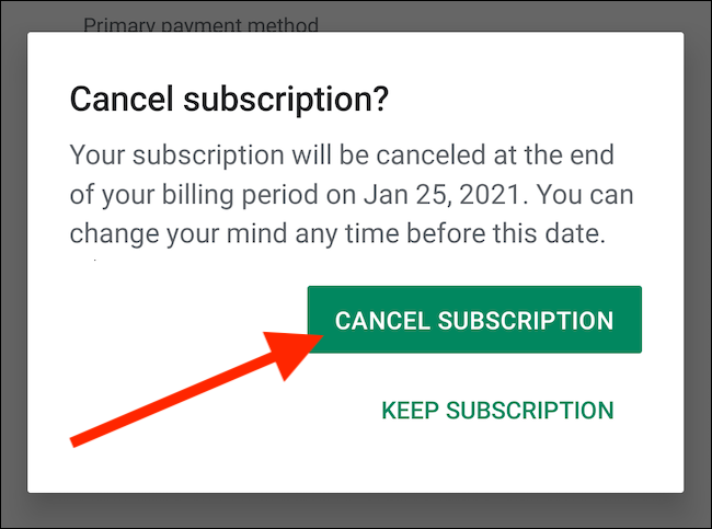 """Confirm by Tapping the """"Cancel Subscription"""" Button"""