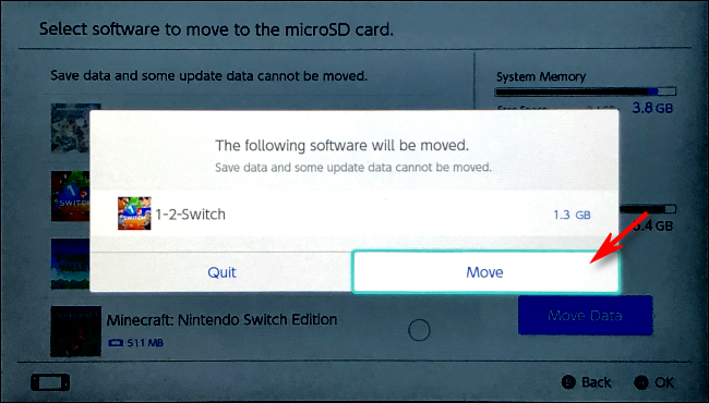 Confirm Software Move on Nintendo Switch