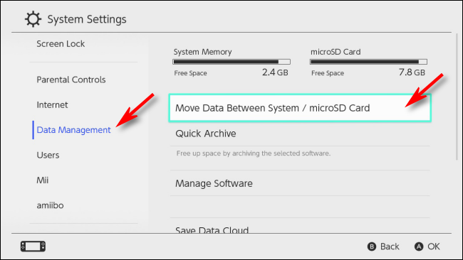 Select Data Management on Nintendo Switch
