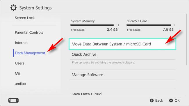 Select Data Management on Nintendo Switch