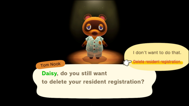 Delete Resident Data confirmation in Animal Crossing: New Horizons