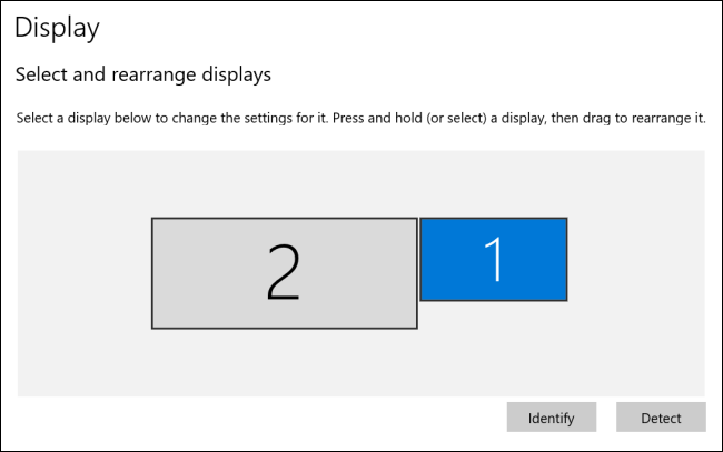 Displays have been rearranged in Windows 10