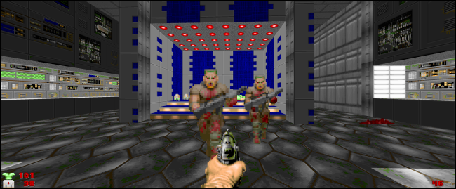 "A scene from ""Doom"" on an ultrawide screen."