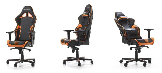 Three DXRacer Racing Series PRO gaming chairs.