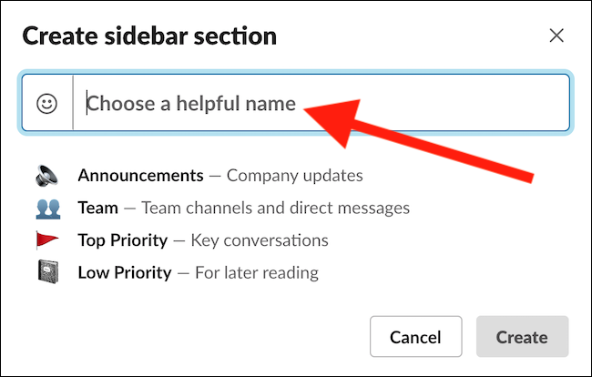 """Enter a Section Name into the """"Choose A Helpful Name"""" Box"""