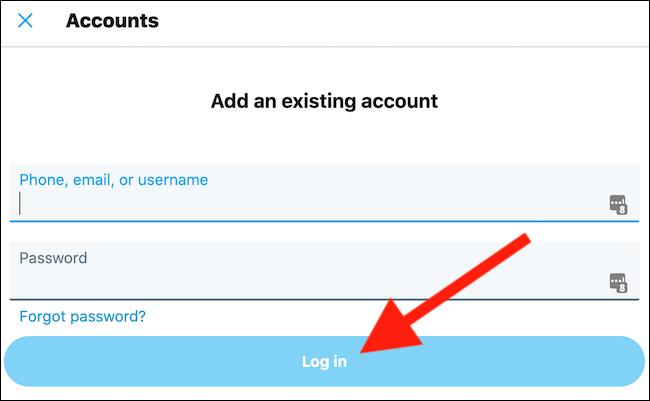"Enter your account credentials and then click the ""Log In"" button"
