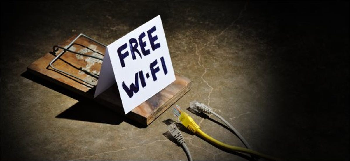 """A """"Free Wi-Fi"""" sign on a mousetrap, representing a malicious hotspot."""