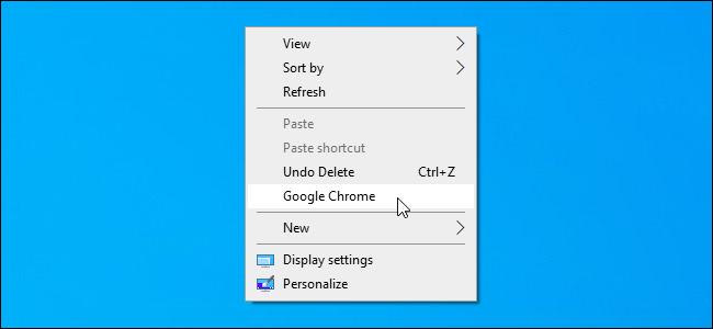 A custom shortcut added to the Windows 10 desktop's context menu.