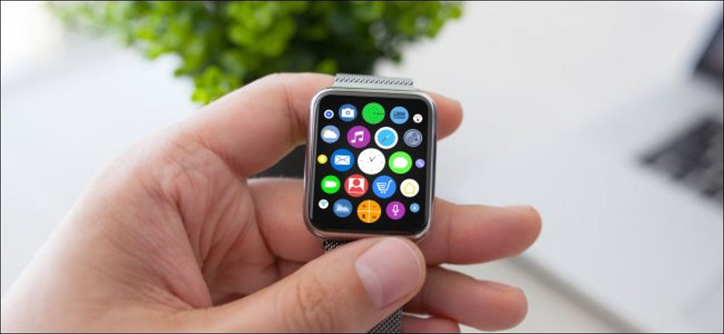 A man's hand holding an Apple Watch
