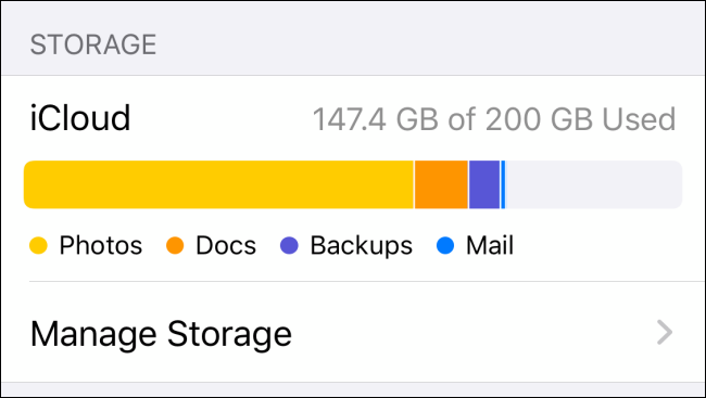 "Available iCloud space under ""Storage"" on an iPhone."