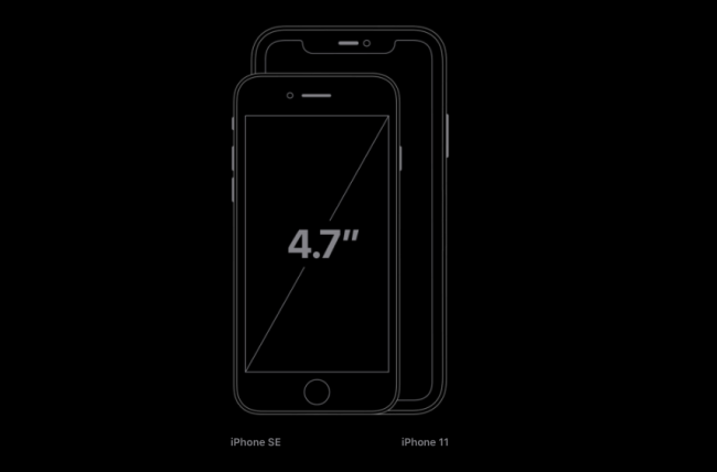 The new iPhone SE size comparison with iPhone 11.