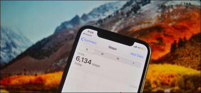 iPhone que muestra el recuento de pasos en la aplicación Salud.