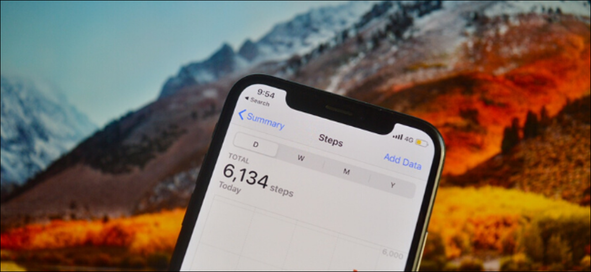 iPhone showing the step count in the Health app.