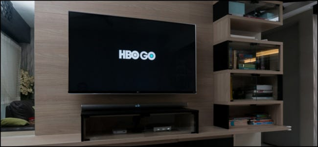 HBO Go logo on a big screen TV.