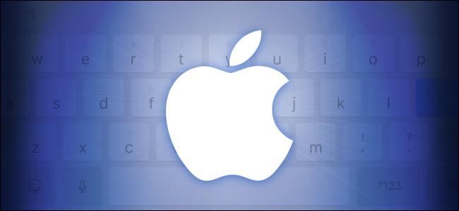 Apple Logo over an iPad Onscreen Keyboard