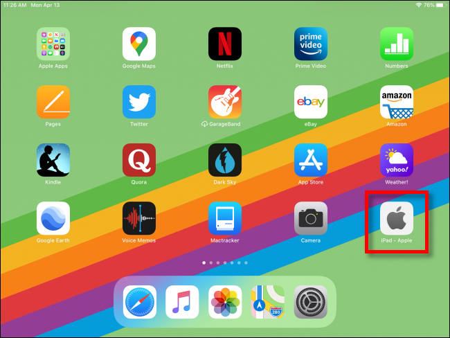 iPad with Web Shortcut on Home Screen
