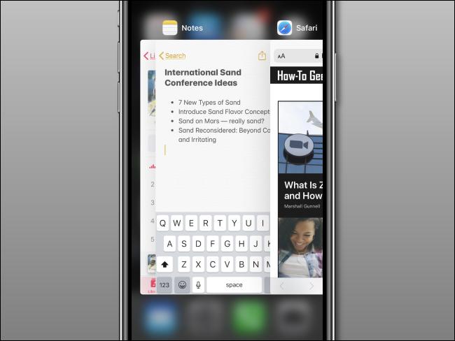 An App Switcher open on an iPhone.