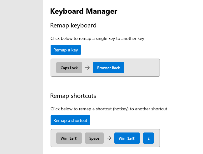 Remapping keys and keyboard shortcuts in the Keyboard Manager PowerToy.