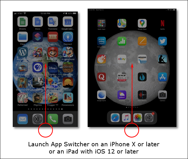 Swipe upward from the bottom of the screen to launch the App Switcher on iPhones or iPads without Home buttons.