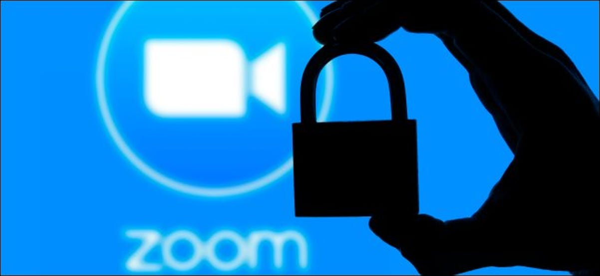 A silhouette of a padlock in front of a Zoom logo.