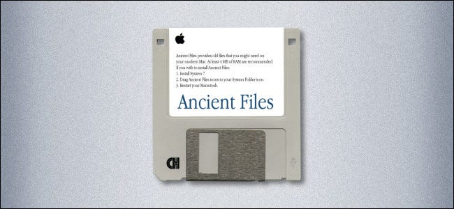 "A Mac 3.5-inch floppy disk labeled ""Ancient Files."""